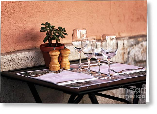 Table Wine Greeting Cards - Table for Two in Marseille Greeting Card by John Rizzuto