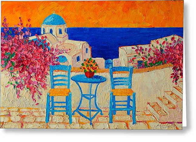 Blue And Purple Sea Greeting Cards - Table For Two In Santorini Greece Greeting Card by Ana Maria Edulescu