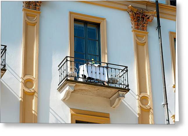 Villa Deste Greeting Cards - Table For Two On Balcony Of Room Greeting Card by Panoramic Images