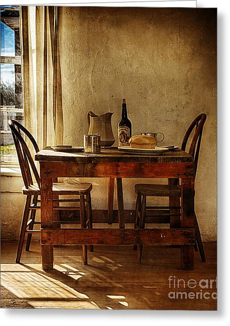 Old Pitcher Greeting Cards - Table For Two Greeting Card by Priscilla Burgers
