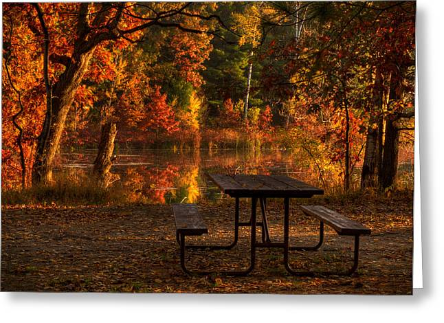 Fallen Leaf Lake Greeting Cards - Table for Two Greeting Card by Thomas Young