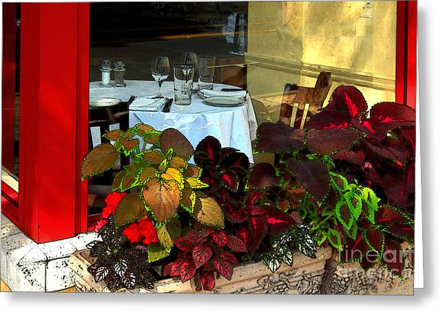 Table Wine Greeting Cards - Table In The Window Greeting Card by James Eddy