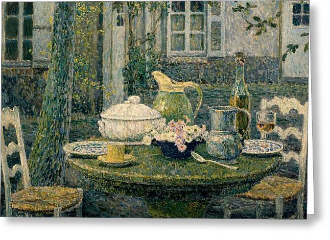 Big Wine Greeting Cards - Table laden for spring Greeting Card by Henry Eugene Le Sidaner