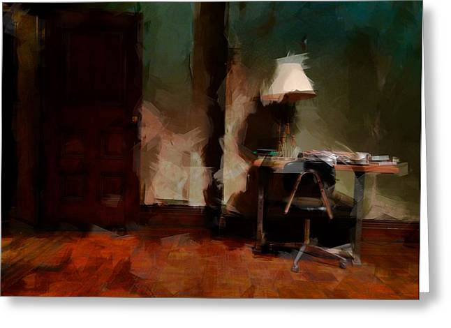 Table Lamp Chair Greeting Card by H James Hoff