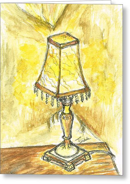 Night Lamp Mixed Media Greeting Cards - Table Lamp Greeting Card by Teresa White