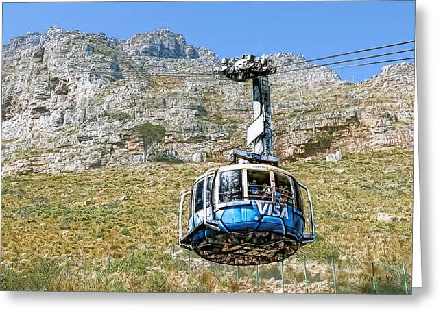 Ocean Panorama Greeting Cards - Table Mountain Cable Car Greeting Card by Maria Coulson