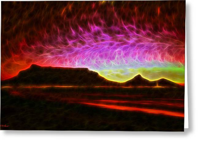Cape Town Digital Art Greeting Cards - Table Mountain Vector Point Greeting Card by Michael Durst
