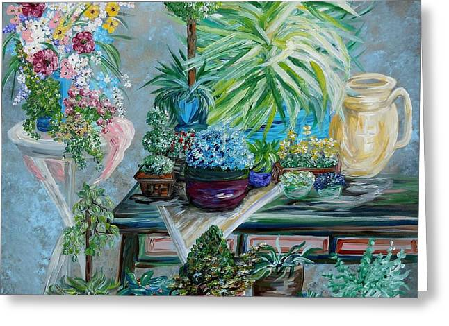Waiting Room Greeting Cards - Table of a Plant Lover Greeting Card by Eloise Schneider