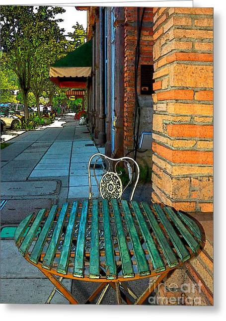 Calistoga Digital Art Greeting Cards - Table On A Sidewalk Greeting Card by James Eddy