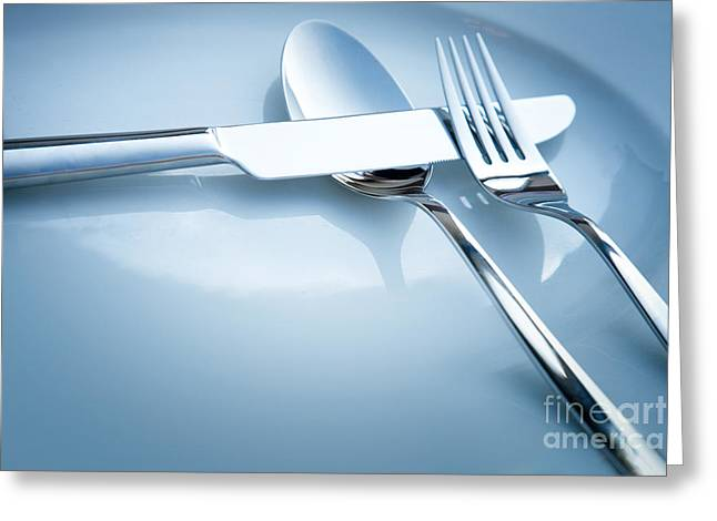 Stainless Steel Greeting Cards - Table Place Setting Greeting Card by Mythja  Photography
