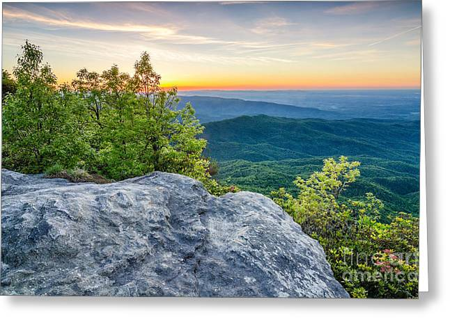 Pisgah Greeting Cards - Table Rock predawn Greeting Card by Anthony Heflin