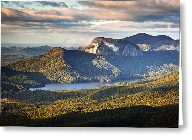 Leaf Change Greeting Cards - Table Rock Sunrise - Caesars Head State Park Landscape Greeting Card by Dave Allen