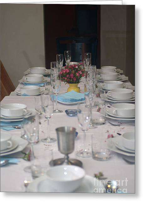 White Cloth Photographs Greeting Cards - Table set for a Jewish Festive meal Greeting Card by Ilan Rosen