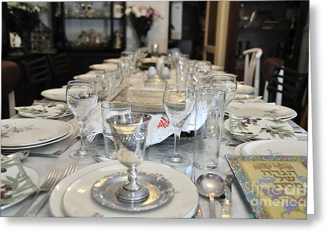 Goblet Greeting Cards - Table set for a Jewish Festive meal on Passover  Greeting Card by Ilan Rosen