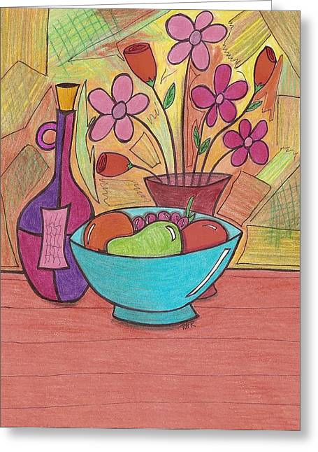 Bowl Of Flowers Greeting Cards - Table Setting Greeting Card by Ray Ratzlaff