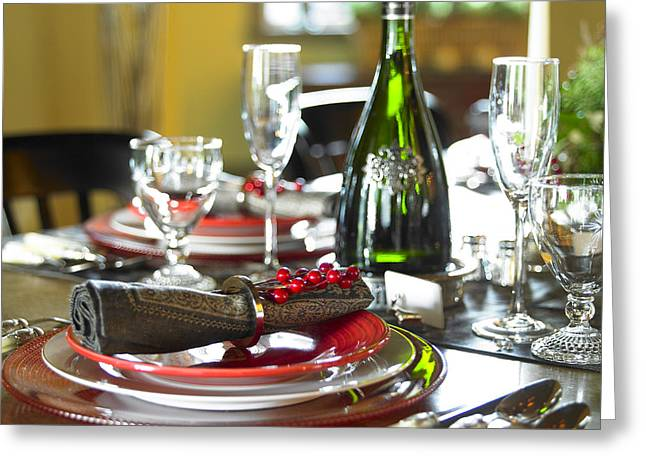 Glass Bottle Greeting Cards - Table Setting With Red And White Greeting Card by Works Photography
