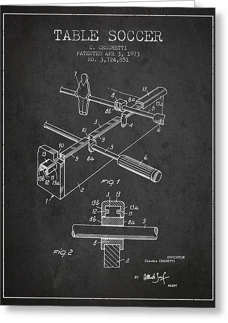 Sports Digital Art Greeting Cards - Table Soccer Game Patent from 1973- Charcoal Greeting Card by Aged Pixel