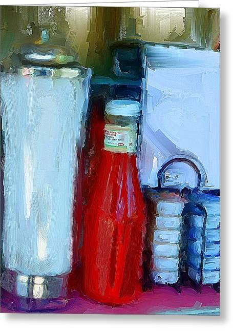 Ketchup Digital Greeting Cards - Table Still Life Greeting Card by Cary Shapiro