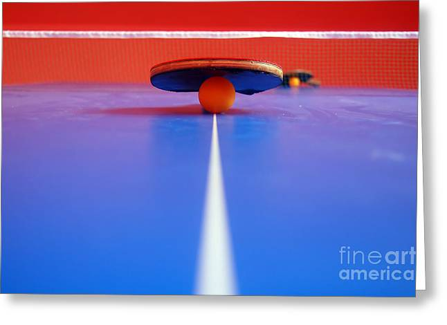 Tennis Match Greeting Cards - Table Tennis Greeting Card by Michal Bednarek