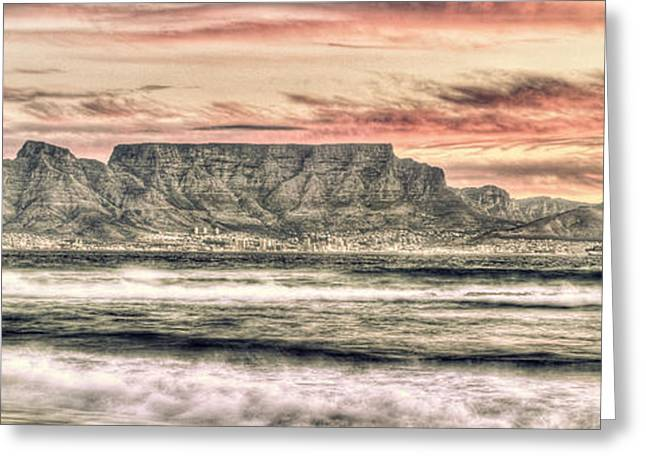 Cape Town Digital Art Greeting Cards - Table View at Sunset Greeting Card by Babur Yakar