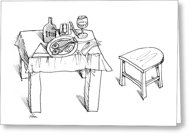 Table And Chairs Drawings Greeting Cards - Table With Fish Dinner Greeting Card by Ch