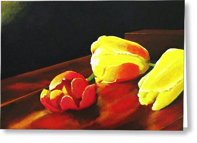 Interior Still Life Paintings Greeting Cards - Tabled Tulips Greeting Card by John Lasco
