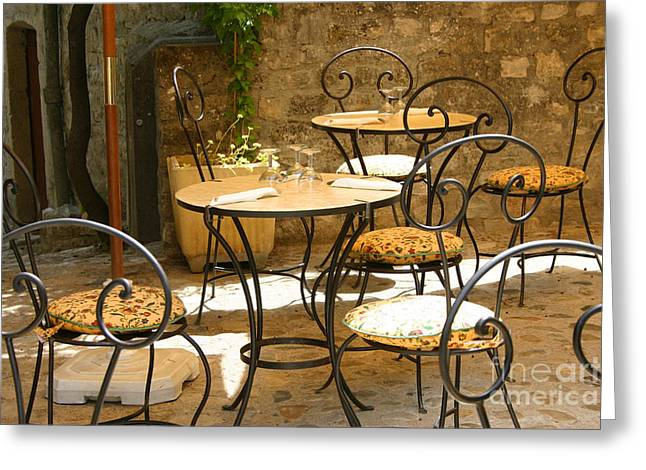 Romaine Greeting Cards - Tables And Chairs Greeting Card by Holly C. Freeman