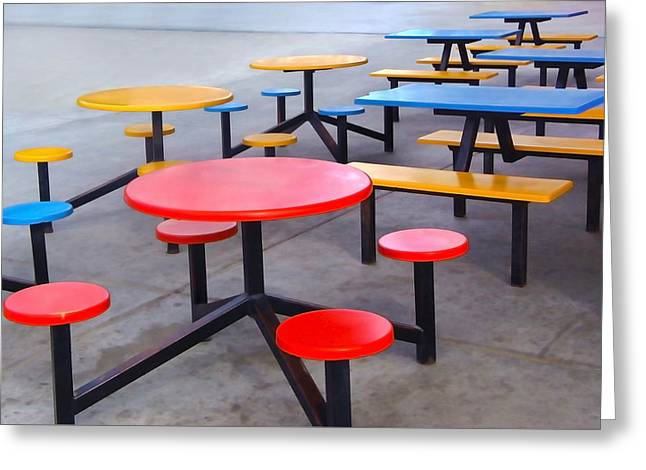 Santa Cruz Art Greeting Cards - Tables in Primary Colors Greeting Card by Art Block Collections