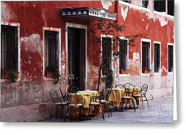 Red Buildings Greeting Cards - Tables Greeting Card by John Rizzuto