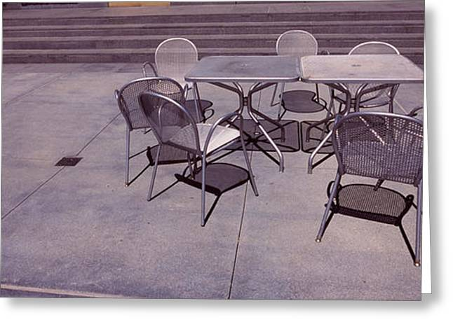 Silicon Greeting Cards - Tables With Chairs On A Street, San Greeting Card by Panoramic Images