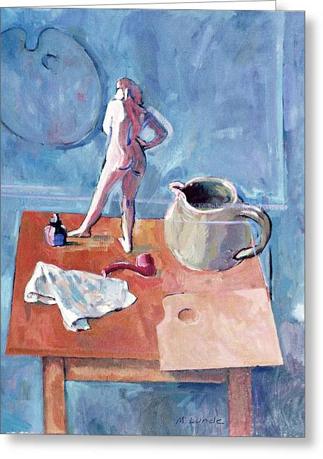 Still Life With Pitcher Paintings Greeting Cards - Tabletop with Figurine Greeting Card by Mark Lunde
