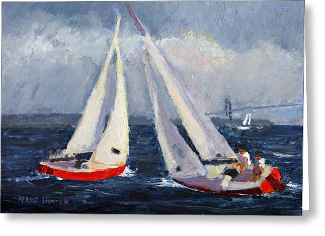 Sailboat Images Paintings Greeting Cards - Tacking Duel Greeting Card by Mark Hunter