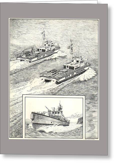 Fireboat Greeting Cards - Tacoma Fireboats New and Old Number 1 Greeting Card by Jack Pumphrey