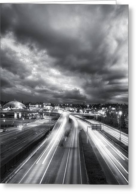 """glass Museum"" Greeting Cards - Tacoma Night Sky Greeting Card by Ryan Manuel"