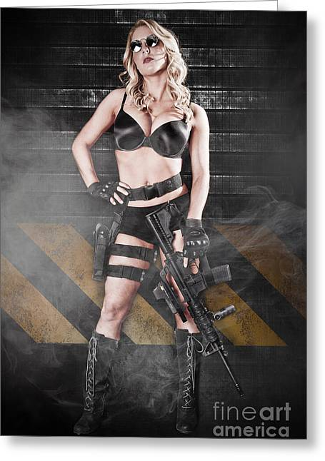 Hot Gun Greeting Cards - Tactical Girl Greeting Card by Jt PhotoDesign