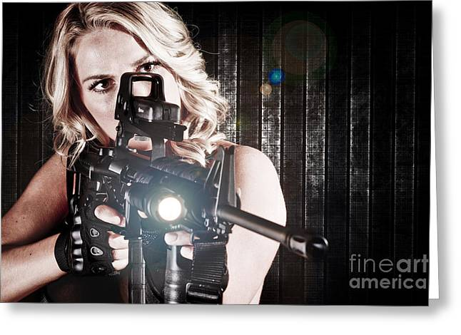 Hot Gun Greeting Cards - Tactical Woman Greeting Card by Jt PhotoDesign