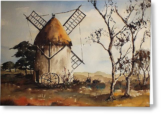 Thatch Greeting Cards - Tacumshin Windmill Wexford  Greeting Card by Val Byrne