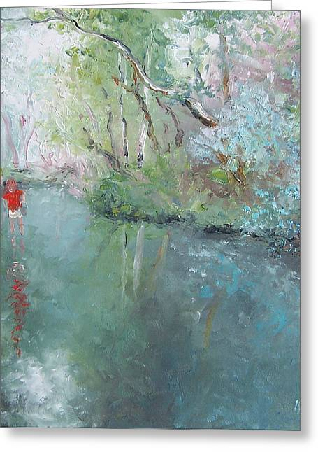 Reflections In River Greeting Cards - Tad poling at the creek Greeting Card by Jan Matson