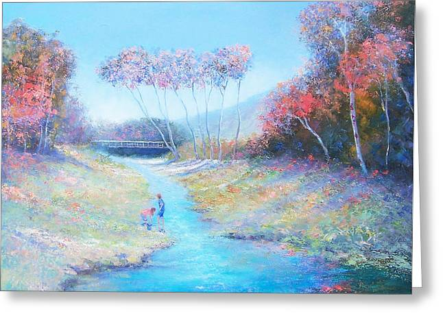 Lounge Paintings Greeting Cards - Tadpoling by the river Greeting Card by Jan Matson