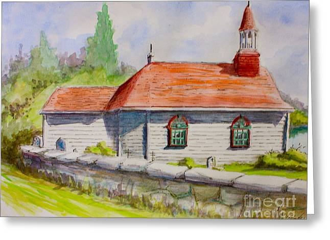 Tadoussac Church Quebec Canada Greeting Card by Yvonne Ayoub