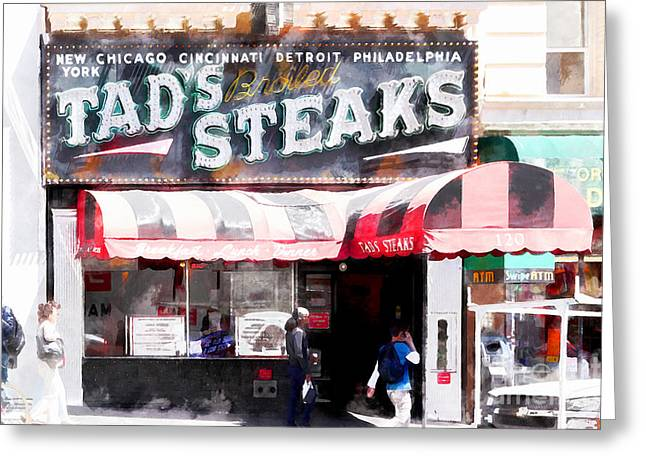 Grant Street Greeting Cards - Tads Broiled Steaks Restaurant San Francisco 5d17955wcstyle Greeting Card by Wingsdomain Art and Photography