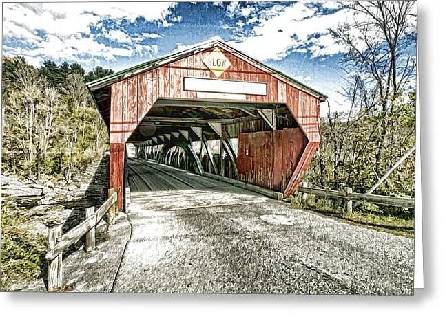 Taftsville Vermont Covered Bridge Photo Art Greeting Card by Constantine Gregory
