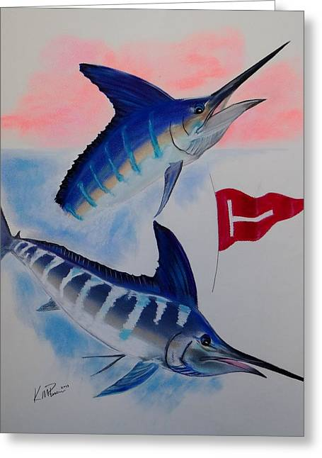 Blue Marlin.white Marlin Greeting Cards - Tag and Release Greeting Card by Kevin  Brown