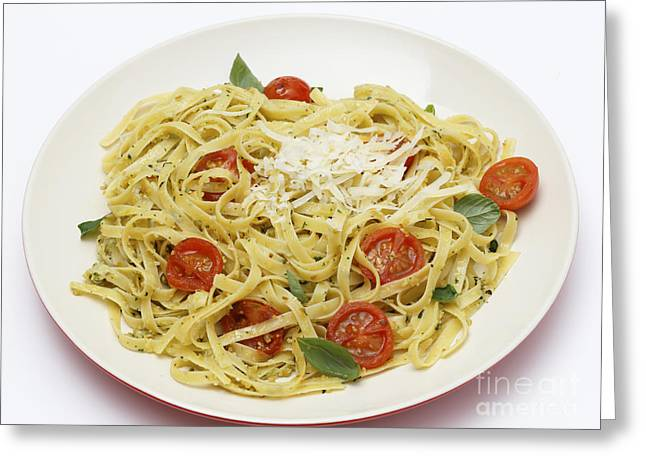 Over Easy Greeting Cards - Tagliatelle with pesto and tomatoes Greeting Card by Paul Cowan