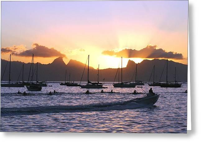 Canoe Photographs Greeting Cards - Tahiti sunset Greeting Card by Martha Lyle