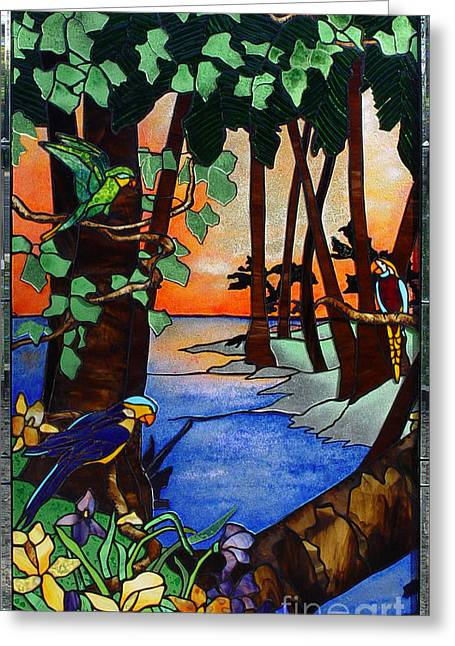 Fauna Glass Art Greeting Cards - Tahiti Window Greeting Card by Peter Piatt