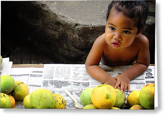 Mango Greeting Cards - Tahitian Baby in Market Greeting Card by Julie Palencia