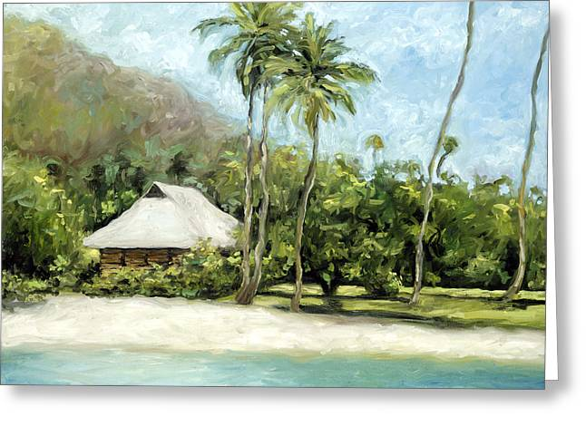 Stacy Vosberg Greeting Cards - Tahitian Hut Greeting Card by Stacy Vosberg