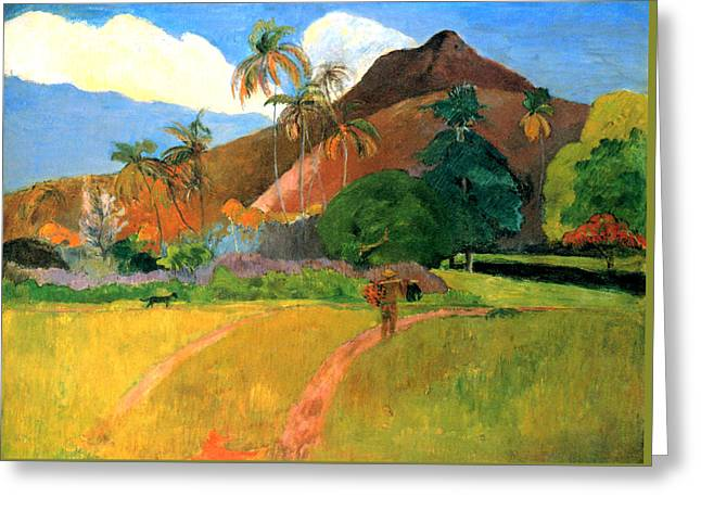 Tahitian Mountains Greeting Card by Eugene Henri Paul Gauguin