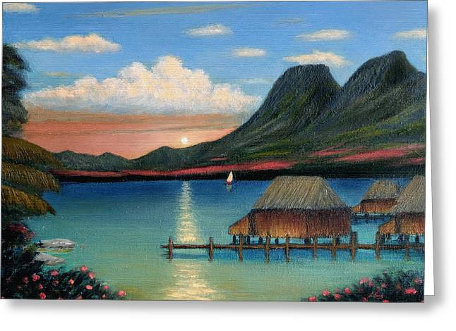 Tropical Island Greeting Cards - Tahitian Sunset Greeting Card by Gordon Beck